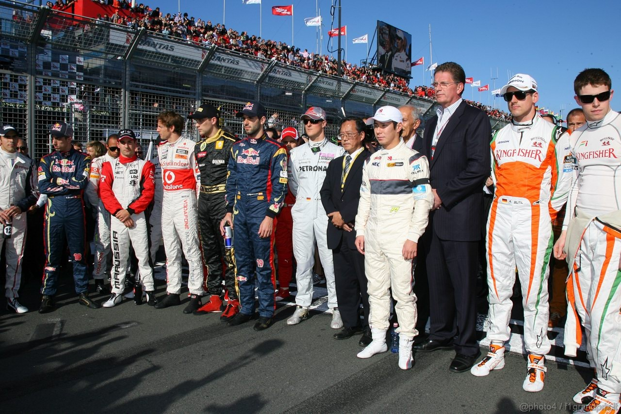 GP AUSTRALIA, 27.03.2011- Gara, Drivers in one minute of silence for the victims of the earthquake in Japan
