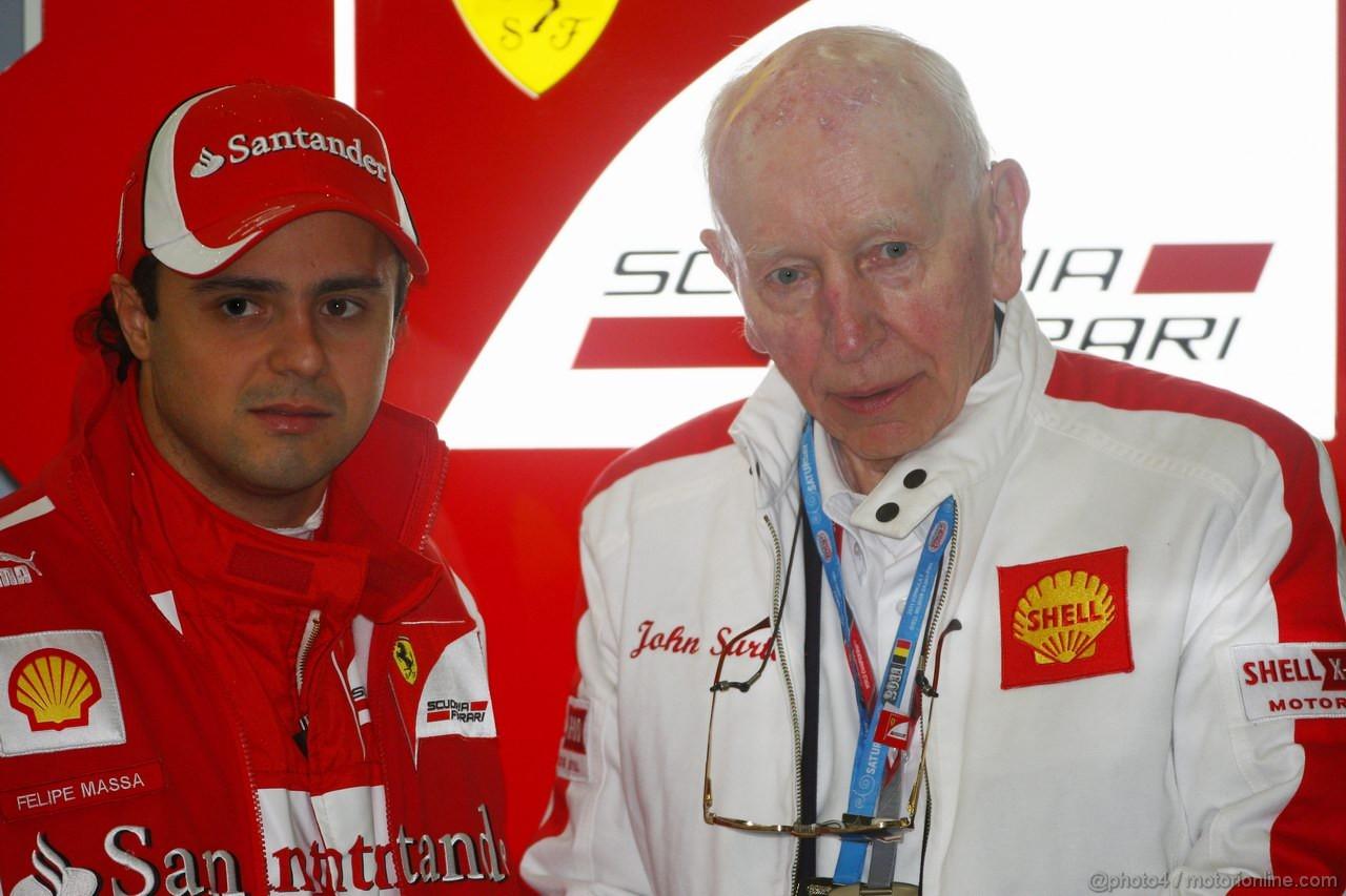 GP BELGIO, 27.08.2011- Prove Libere 3, Sabato, Felipe Massa (BRA), Ferrari, F-150 Italia e John Surtees (GBR), Ex F1 Driver