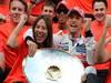 GP BELGIO, 02.09.2012- Gara, Festeggiamenti, Jenson Button (GBR) McLaren Mercedes MP4-27 vincitore with Domenica Jessica Michibata (GBR), girfriend of Jenson Button (GBR)