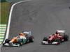 GP BRASILE, 25.11.2012- Gara, Nico Hulkenberg (GER) Sahara Force India F1 Team VJM05 e Felipe Massa (BRA) Ferrari F2012