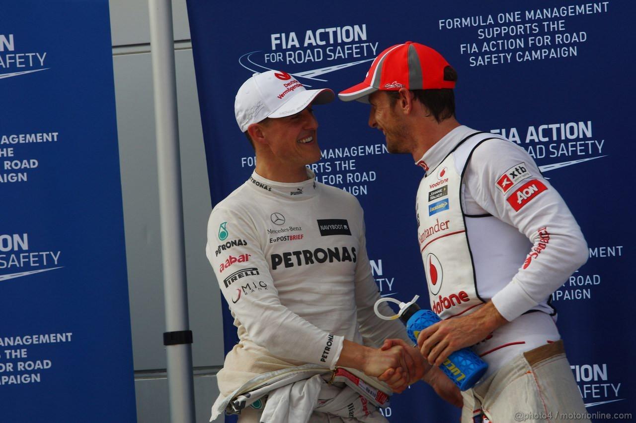GP MALESIA, 24.03.2012- Qualifiche, Michael Schumacher (GER) Mercedes AMG F1 W03 terzo e Jenson Button (GBR) McLaren Mercedes MP4-27 secondo