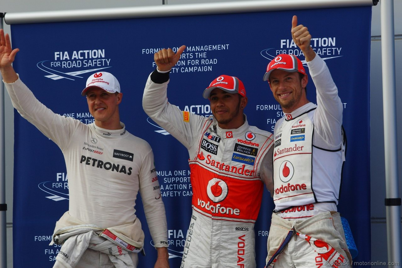 GP MALESIA, 24.03.2012- Qualifiche, Lewis Hamilton (GBR) McLaren Mercedes MP4-27 pole position, Jenson Button (GBR) McLaren Mercedes MP4-27 secondo e Michael Schumacher (GER) Mercedes AMG F1 W03 terzo