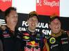 GP SINGAPORE, 22.09.2013- Podium, winner Sebastian Vettel (GER) Red Bull Racing RB9, 3rd Kimi Raikkonen (FIN) Lotus F1 Team E21 e Christian Horner (GBR), Red Bull Racing, Sporting Director