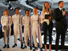 WILLIAMS MARTINI RACING FW36, The Williams FW36 with Martini livery is unveiled. (L to R): Susie Wolff (GBR) Williams Development Driver; Felipe Nasr (BRA) Williams Test e Reserve Driver; Felipe Massa (BRA) Williams; Valtteri Bottas (FIN) Williams; Jodie Kidd (GBR); Jake Humphrey (GBR). 06.03.2014. Formula One Launch, Williams FW36 Official Unveiling, London, England.