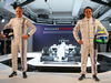 WILLIAMS MARTINI RACING FW36, (L to R): Valtteri Bottas (FIN) Williams with team mate Felipe Massa (BRA) Williams e the new Martini liveried Williams FW36. 06.03.2014. Formula One Launch, Williams FW36 Official Unveiling, London, England.