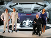 WILLIAMS MARTINI RACING FW36, (L to R): Valtteri Bottas (FIN) Williams with team mate Felipe Massa (BRA) Williams; Frank Williams (GBR) Williams Team Owner e Claire Williams (GBR) Williams Deputy Team Principal, with the new Martini liveried Williams FW36. 06.03.2014. Formula One Launch, Williams FW36 Official Unveiling, London, England.