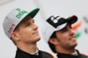 FORCE INDIA VJM09, (L to R): Nico Hulkenberg (GER) Sahara Force India F1 with team mate Sergio Perez (MEX) Sahara Force India F1. 22.02.2016.