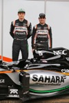 FORCE INDIA VJM09, (L to R): Nico Hulkenberg (GER) Sahara Force India F1 with team mate Sergio Perez (MEX) Sahara Force India F1 at the Sahara Force India F1 VJM09 unveiling. 22.02.2016.
