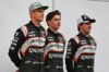 FORCE INDIA VJM09, (L to R): Nico Hulkenberg (GER) Sahara Force India F1 with Alfonso Celis Jr (MEX) Sahara Force India F1 Development Driver e Sergio Perez (MEX) Sahara Force India F1. 22.02.2016.