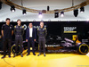 RENAULT F1 PRESENTAZIONE 2016, (L to R): Esteban Ocon (FRA) Renault Sport Formula One Team Test Driver with Jolyon Palmer (GBR) Renault Sport Formula One Team; Carlos Ghosn (FRA) Chairman of Renault e Kevin Magnussen (DEN) Renault Sport Formula One Team. 03.02.2016.