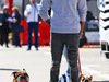 TEST F1 BARCELLONA 1 MARZO, Lewis Hamilton (GBR) Mercedes AMG F1 on a hoverboard in the paddock with his dogs Roscoe e Coco. 01.03.2016.