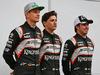 TEST F1 BARCELLONA 22 FEBBRAIO, (L to R): Nico Hulkenberg (GER) Sahara Force India F1 with Alfonso Celis Jr (MEX) Sahara Force India F1 Development Driver e Sergio Perez (MEX) Sahara Force India F1. 22.02.2016.