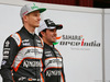 TEST F1 BARCELLONA 22 FEBBRAIO, (L to R): Nico Hulkenberg (GER) Sahara Force India F1 with Sergio Perez (MEX) Sahara Force India F1. 22.02.2016.