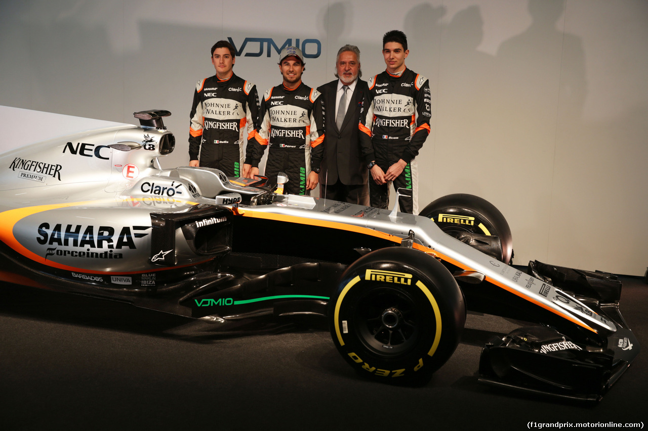 FORCE INDIA VJM10, (L to R): Alfonso Celis Jr (MEX) Sahara Force India F1 Development Driver; Sergio Perez (MEX) Sahara Force India F1; Dr. Vijay Mallya (IND) Sahara Force India F1 Team Owner; Esteban Ocon (FRA) Sahara Force India F1 Team,with the Sahara Force India F1 VJM10. 22.02.2017.