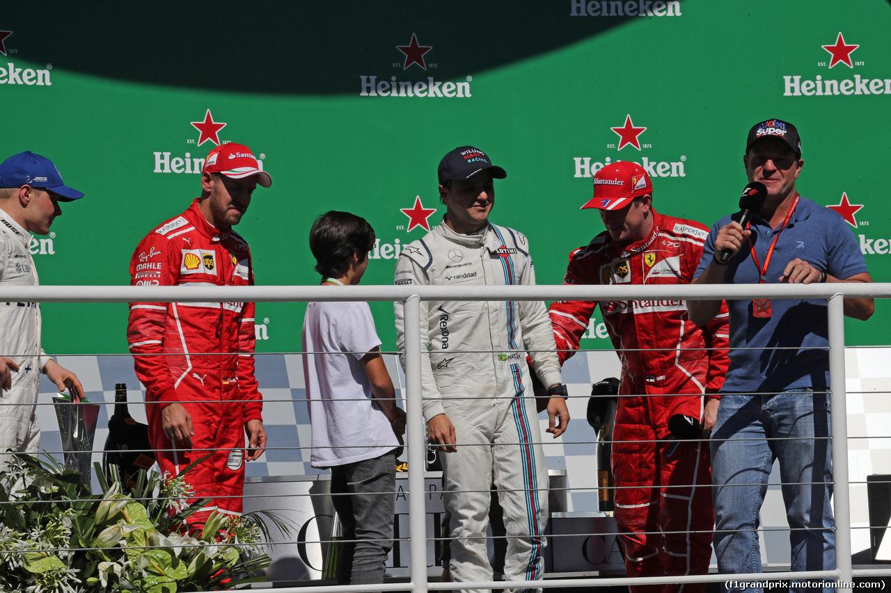 GP BRASILE, 12.11.2017 - Gara, Felipe Massa (BRA) Williams FW40 e Rubens Barrichello (BRA)