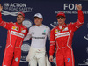 GP BRASILE, 11.11.2017 - Qualifiche, 2nd place Sebastian Vettel (GER) Ferrari SF70H, Valtteri Bottas (FIN) Mercedes AMG F1 W08 pole position e 3rd place Kimi Raikkonen (FIN) Ferrari SF70H