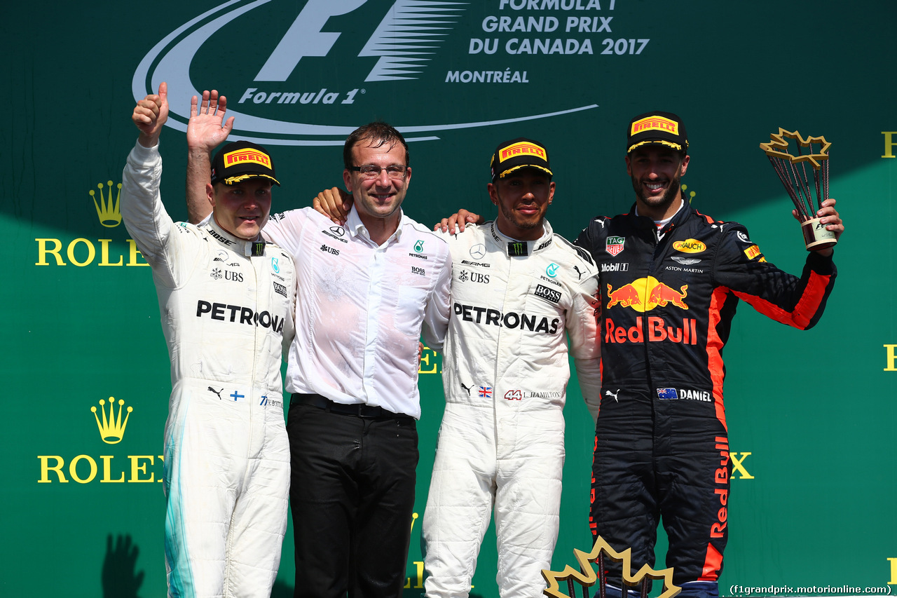 GP CANADA, 11.06.2017- Podium, 11.06.2017- Podium, Winner Lewis Hamilton (GBR) Mercedes AMG F1 W08 , 2nd Valtteri Bottas (FIN) Mercedes AMG F1 W08, 3rd Daniel Ricciardo (AUS) Red Bull Racing RB13 with the Mercedes Team Representative