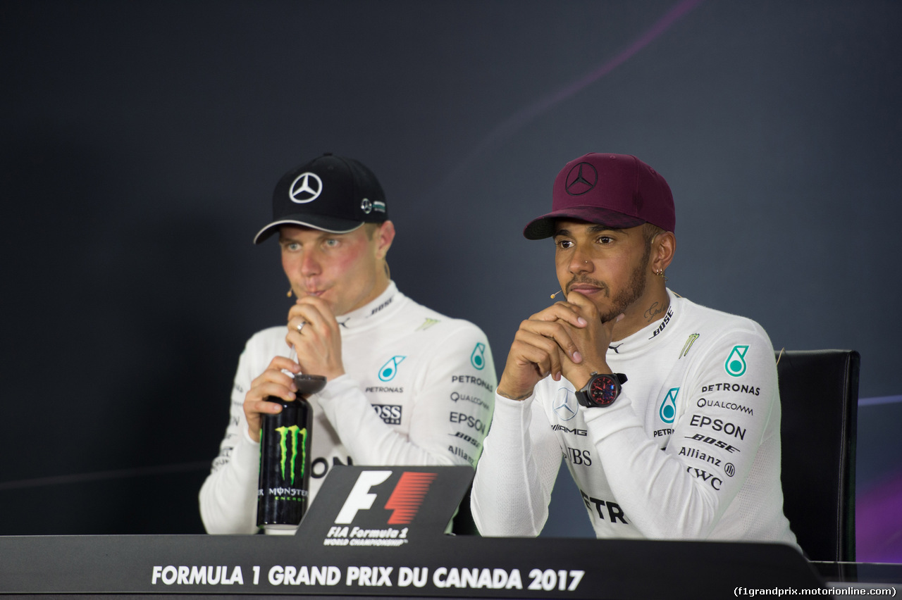 GP CANADA, 11.06.2017- After Gara Press Conference, Valtteri Bottas (FIN) Mercedes AMG F1 W08 e Lewis Hamilton (GBR) Mercedes AMG F1 W08