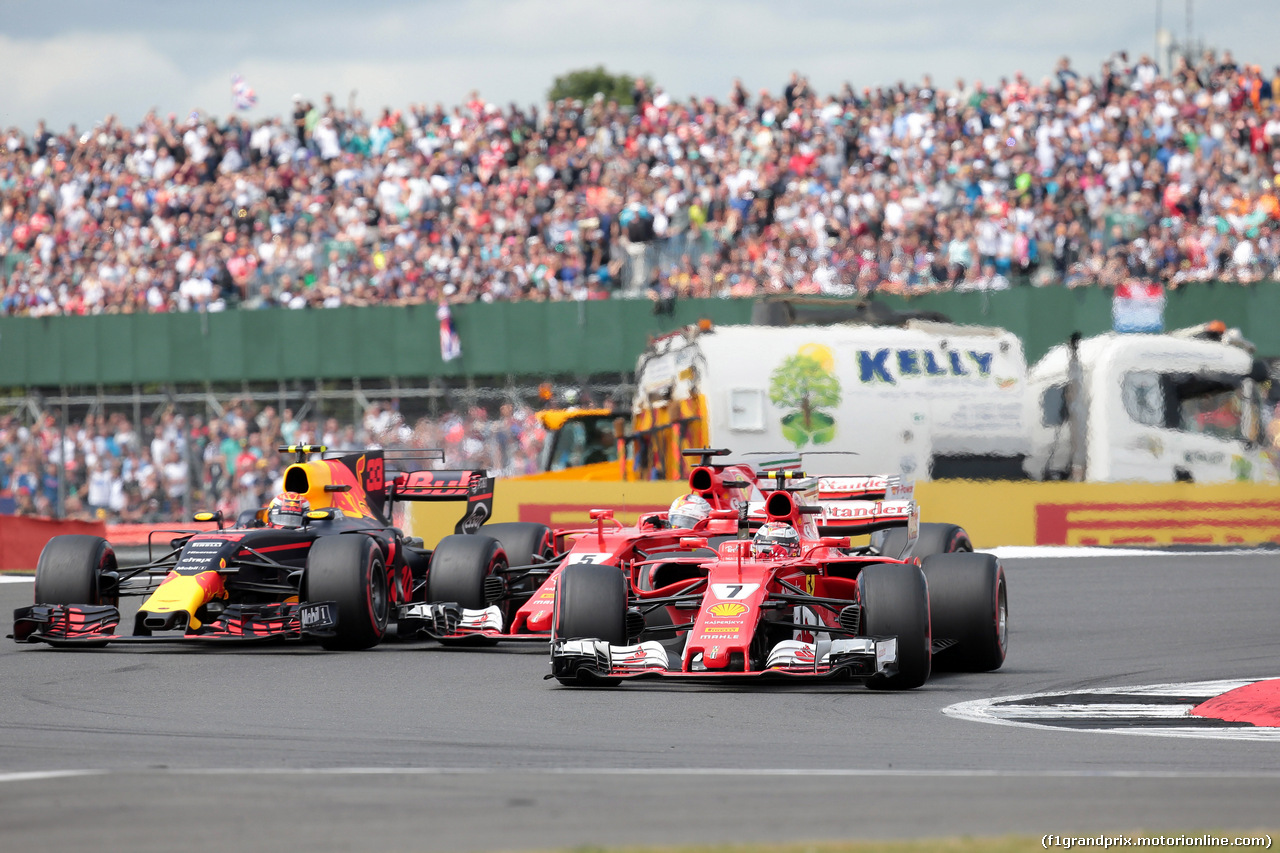 GP GRAN BRETAGNA, 16.07.2017 - Gara, Max Verstappen (NED) Red Bull Racing RB13 , Sebastian Vettel (GER) Ferrari SF70H e Kimi Raikkonen (FIN) Ferrari SF70H