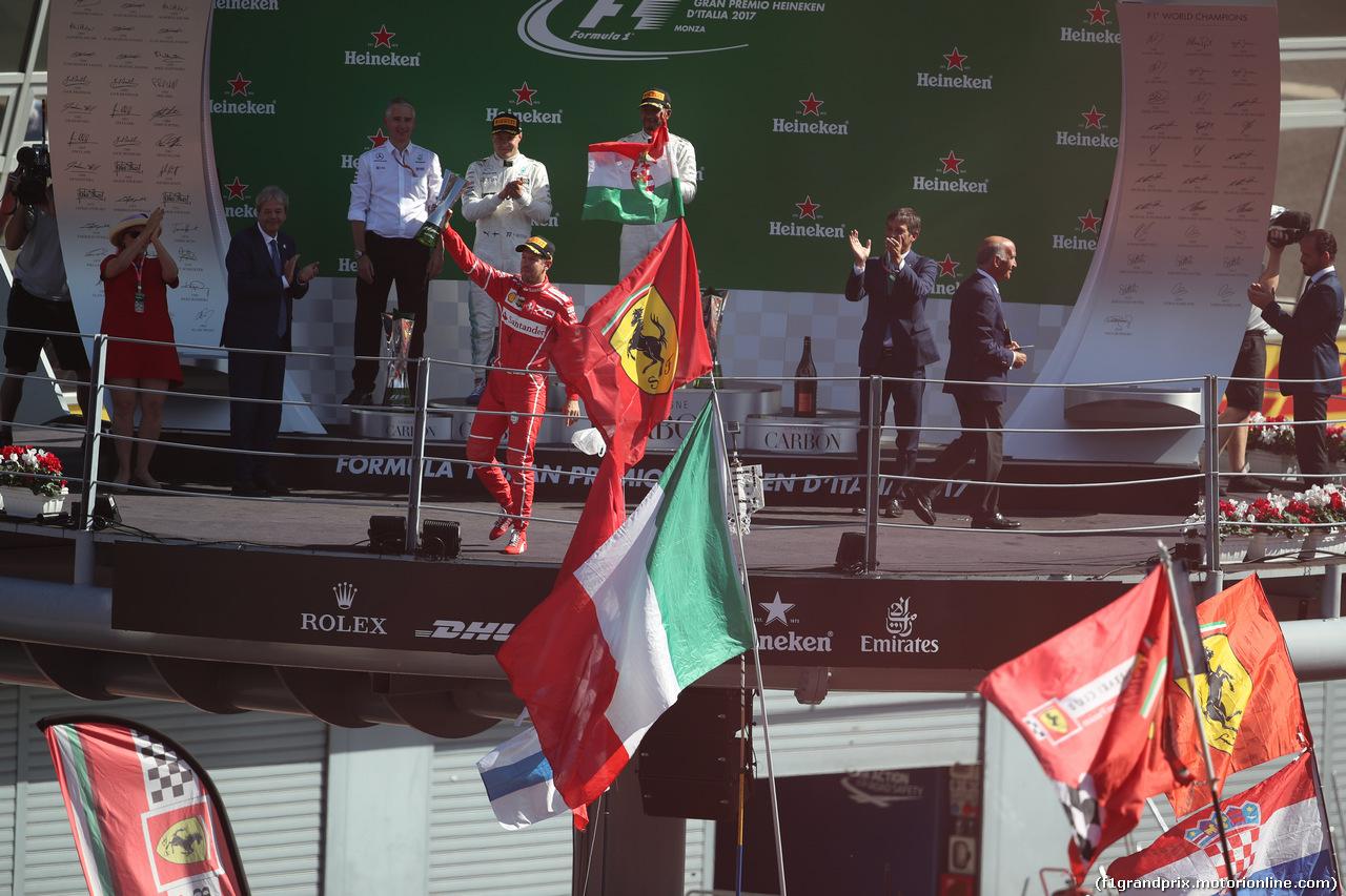 GP ITALIA, 03.09.2017- Podium, winner Lewis Hamilton (GBR) Mercedes AMG F1 W08 , 2nd Valtteri Bottas (FIN) Mercedes AMG F1 W08, 3rd Sebastian Vettel (GER) Ferrari SF70H