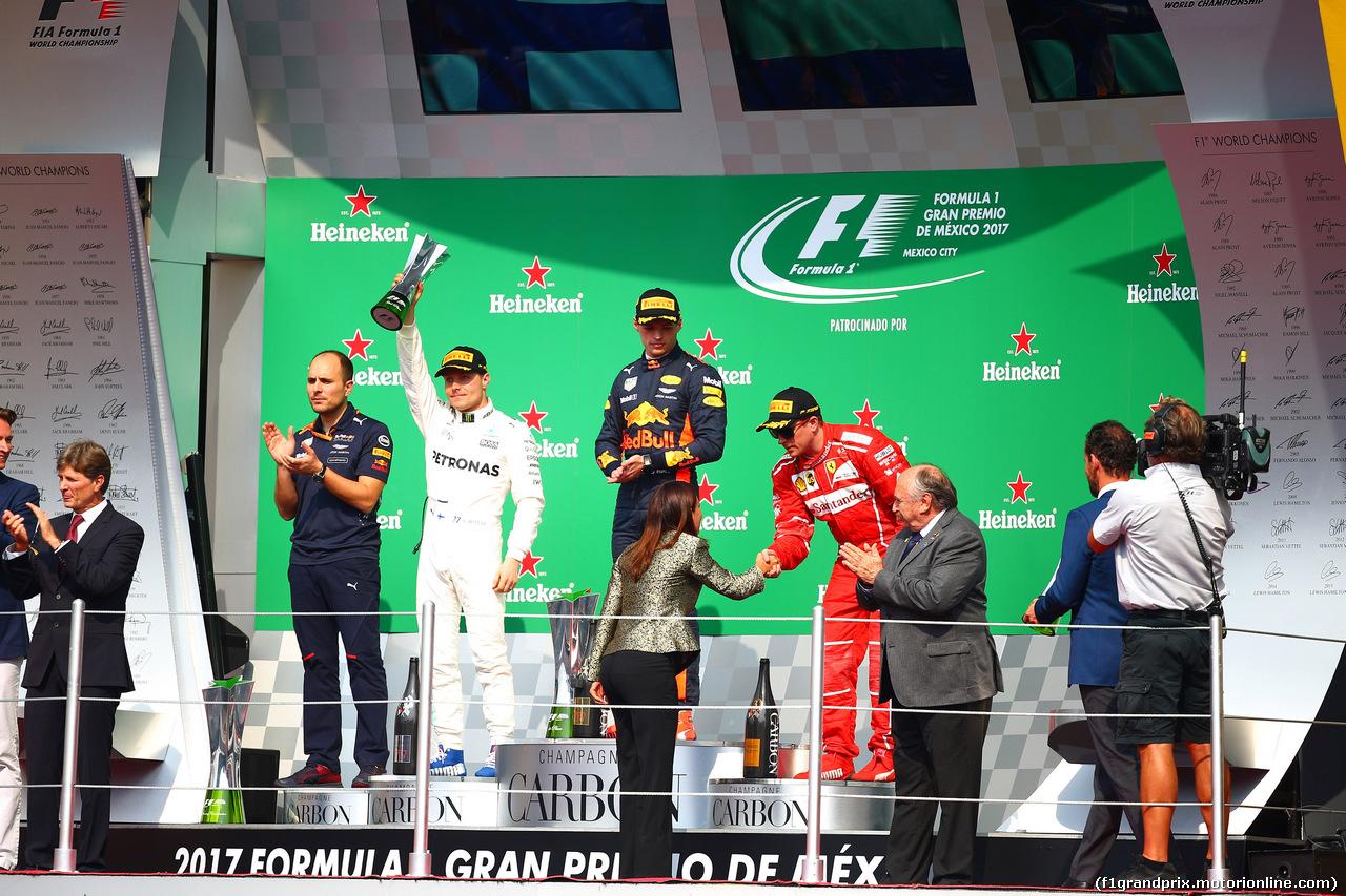 GP MESSICO, 29.10.2017 - Gara, 1st place Max Verstappen (NED) Red Bull Racing RB13, 2nd place Valtteri Bottas (FIN) Mercedes AMG F1 W08 e 3rd place Kimi Raikkonen (FIN) Ferrari SF70H