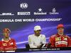 GP STATI UNITI, 22.10.2017 - Gara, Conferenza Stampa, Sebastian Vettel (GER) Ferrari SF70H, Lewis Hamilton (GBR) Mercedes AMG F1 W08 e Kimi Raikkonen (FIN) Ferrari SF70H