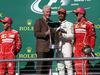 GP STATI UNITI, 22.10.2017 - Gara, 2nd place Sebastian Vettel (GER) Ferrari SF70H, Bill Clinton (USA), Lewis Hamilton (GBR) Mercedes AMG F1 W08 vincitore e 3rd place Kimi Raikkonen (FIN) Ferrari SF70H