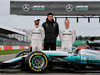 MERCEDES W08 HYBRID, (L to R): Lewis Hamilton (GBR) Mercedes AMG F1; Toto Wolff (GER) Mercedes AMG F1 Shareholder e Executive Director; Valtteri Bottas (FIN) Williams, with the Mercedes AMG F1 W08. 23.02.2017.