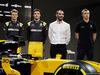 RENAULT RS17, (L to R): Nico Hulkenberg (GER) Renault Sport F1 Team with Jolyon Palmer (GBR) Renault Sport F1 Team; Cyril Abiteboul (FRA) Renault Sport F1 Managing Director; Sergey Sirotkin (RUS) Renault Sport F1 Team Third Driver, with the Renault Sport F1 Team RS17. 21.02.2017.