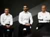 RENAULT RS17, (L to R): Bob Bell (GBR) Renault Sport F1 Team Chief Technical Officer with Cyril Abiteboul (FRA) Renault Sport F1 Managing Director e Jerome Stoll (FRA) Renault Sport F1 President. 21.02.2017.