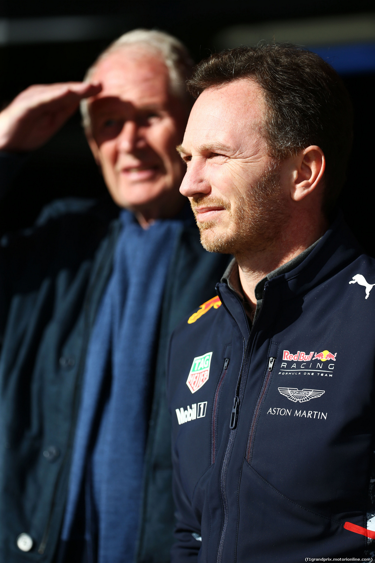 TEST F1 BARCELLONA 2 MARZO, Christian Horner (GBR) Red Bull Racing Team Principal with Dr Helmut Marko (AUT) Red Bull Motorsport Consultant. 02.03.2017.