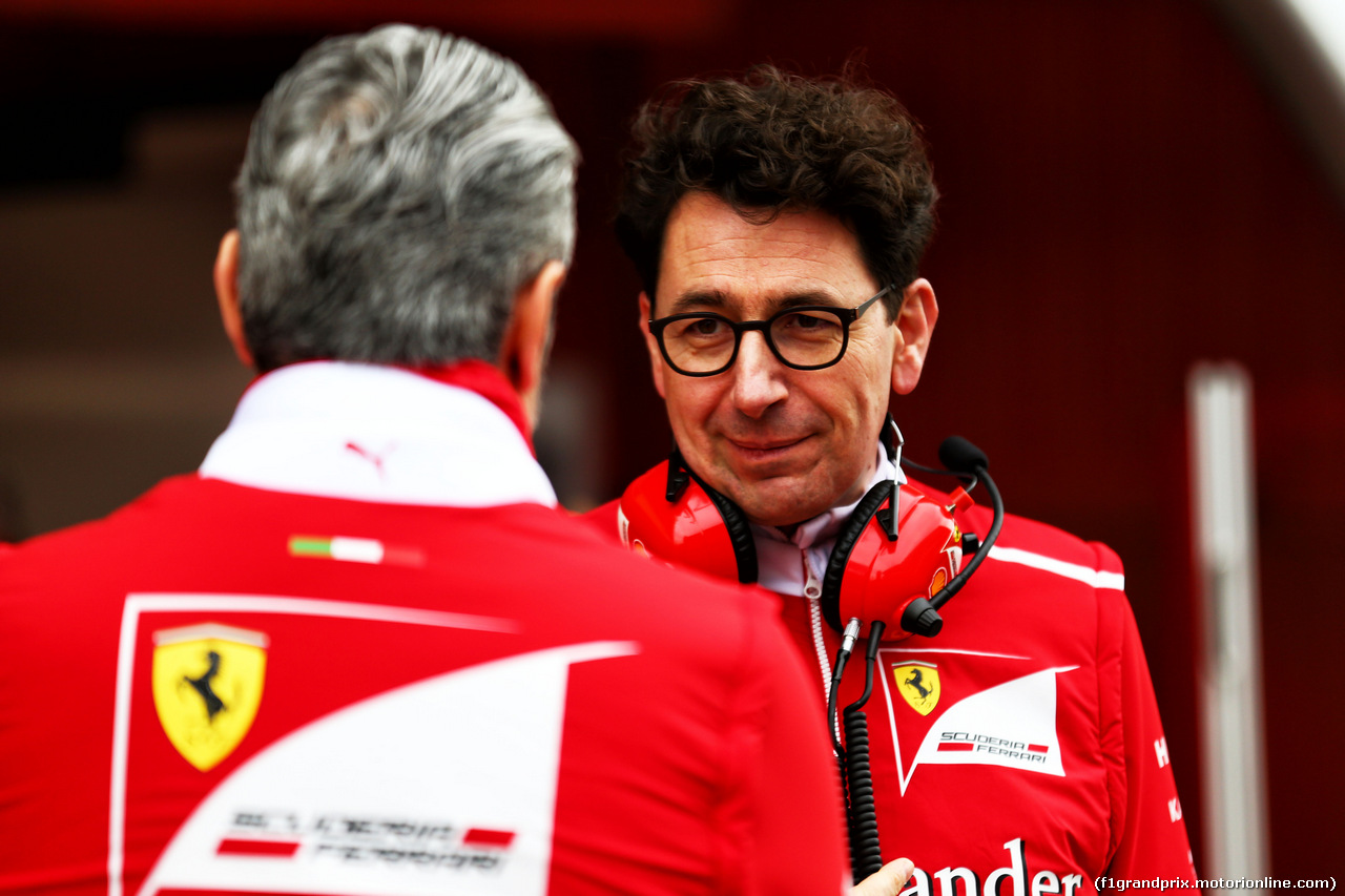 TEST F1 BARCELLONA 8 MARZO, Mattia Binotto (ITA) Ferrari Chief Technical Officer with Maurizio Arrivabene (ITA) Ferrari Team Principal. 08.03.2017.