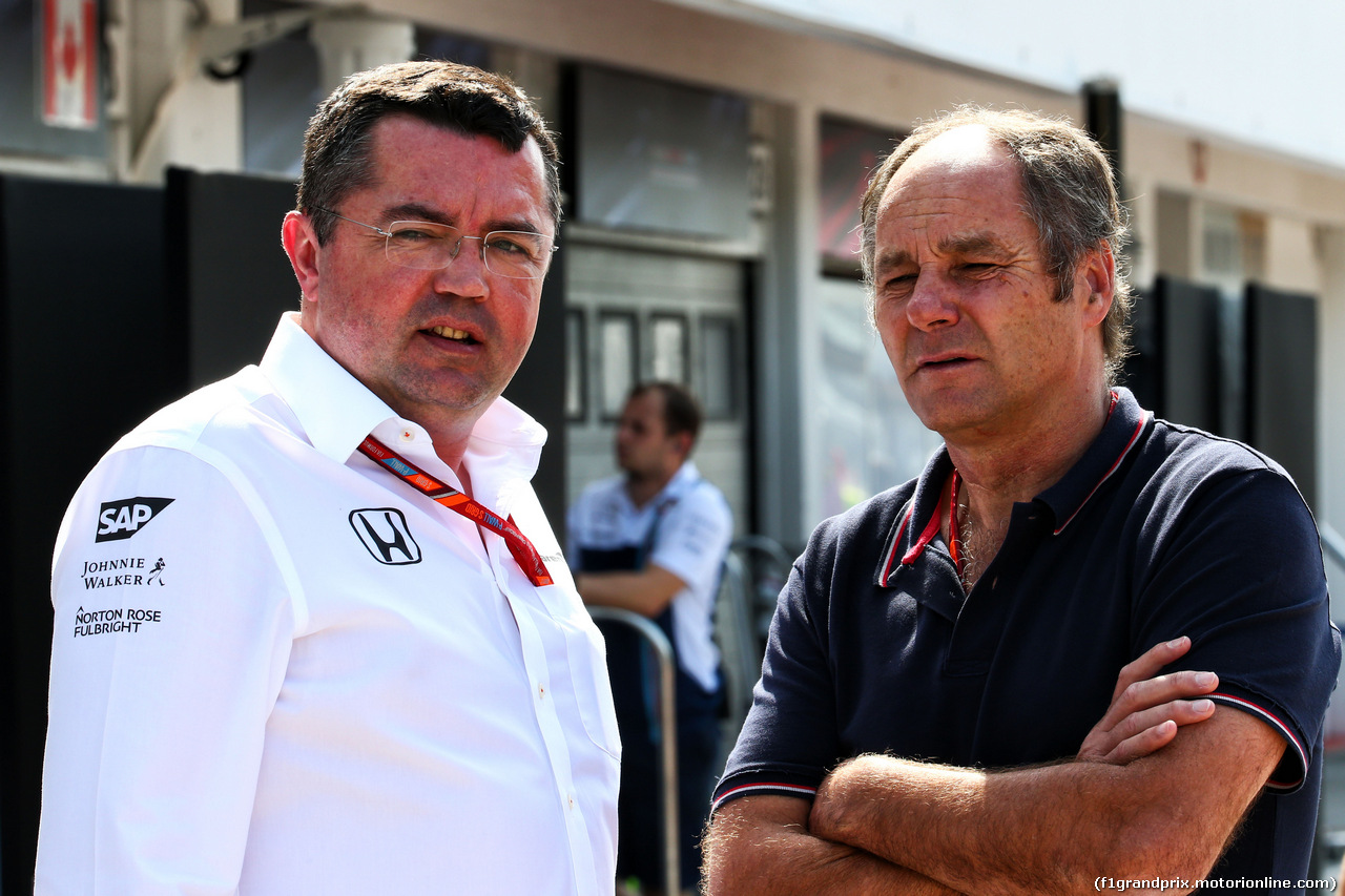 TEST F1 BUDAPEST 02 AGOSTO, (L to R): Eric Boullier (FRA) McLaren Racing Director with Gerhard Berger (AUT). 02.08.2017.