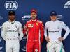 GP AZERBAIJAN, 28.04.2018 - Qualifiche, 2nd place Lewis Hamilton (GBR) Mercedes AMG F1 W09, Sebastian Vettel (GER) Ferrari SF71H pole position e 3rd place Valtteri Bottas (FIN) Mercedes AMG F1 W09