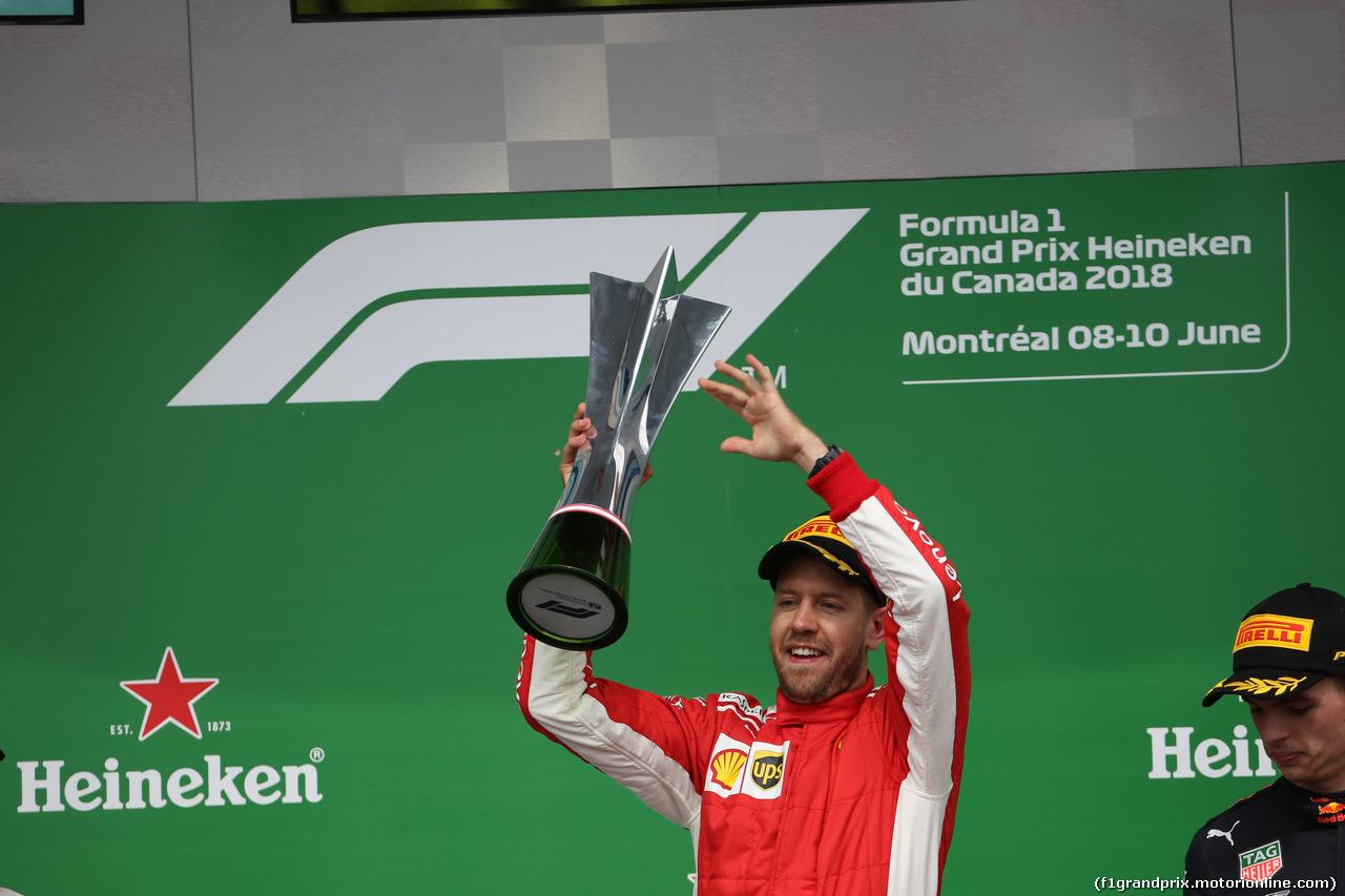GP CANADA, 10.06.2018- Podium, winner Sebastian Vettel (GER) Ferrari SF71H