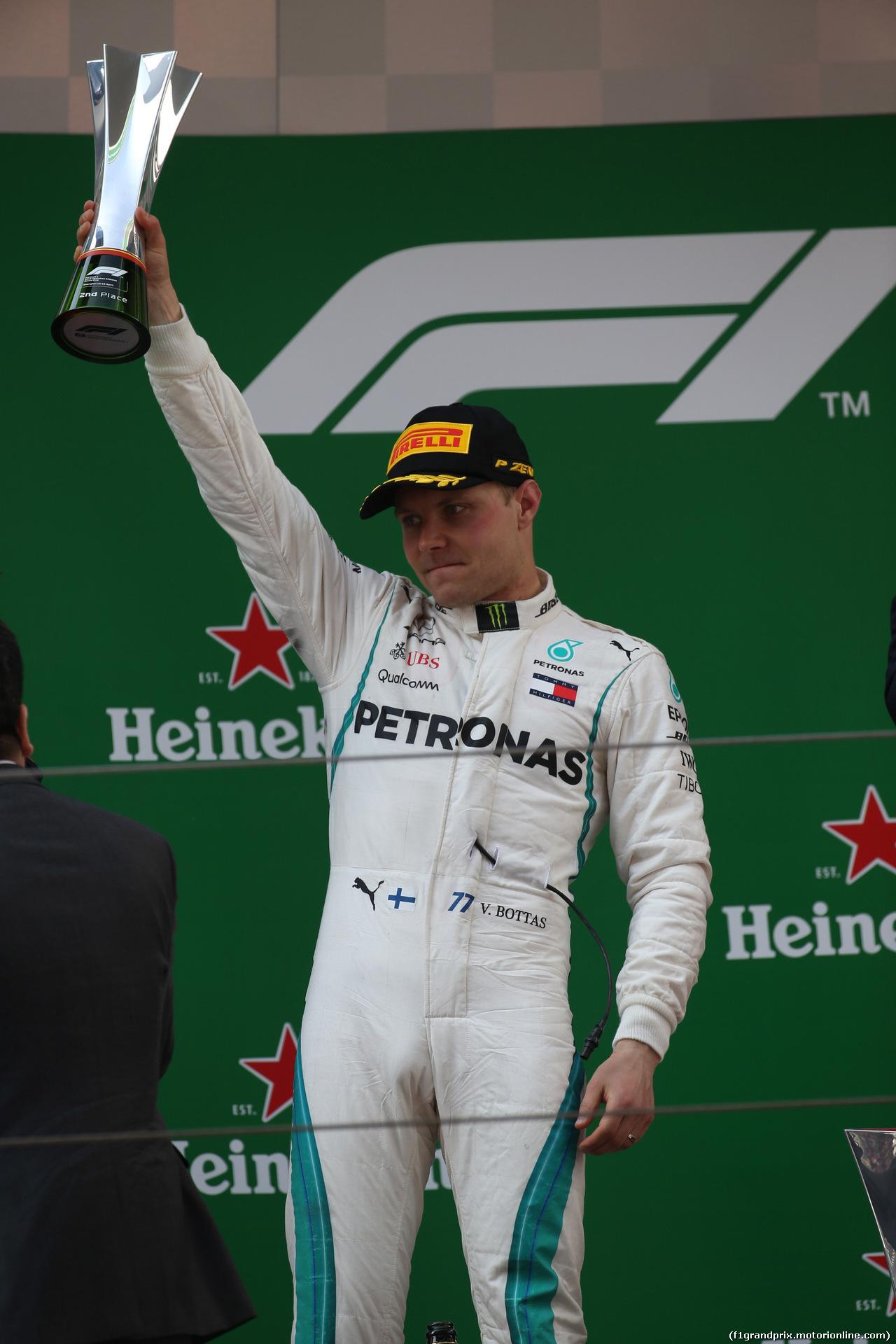 GP CINA, 15.04.2018- Podium, 2ns place Valtteri Bottas (FIN) Mercedes AMG F1 W09