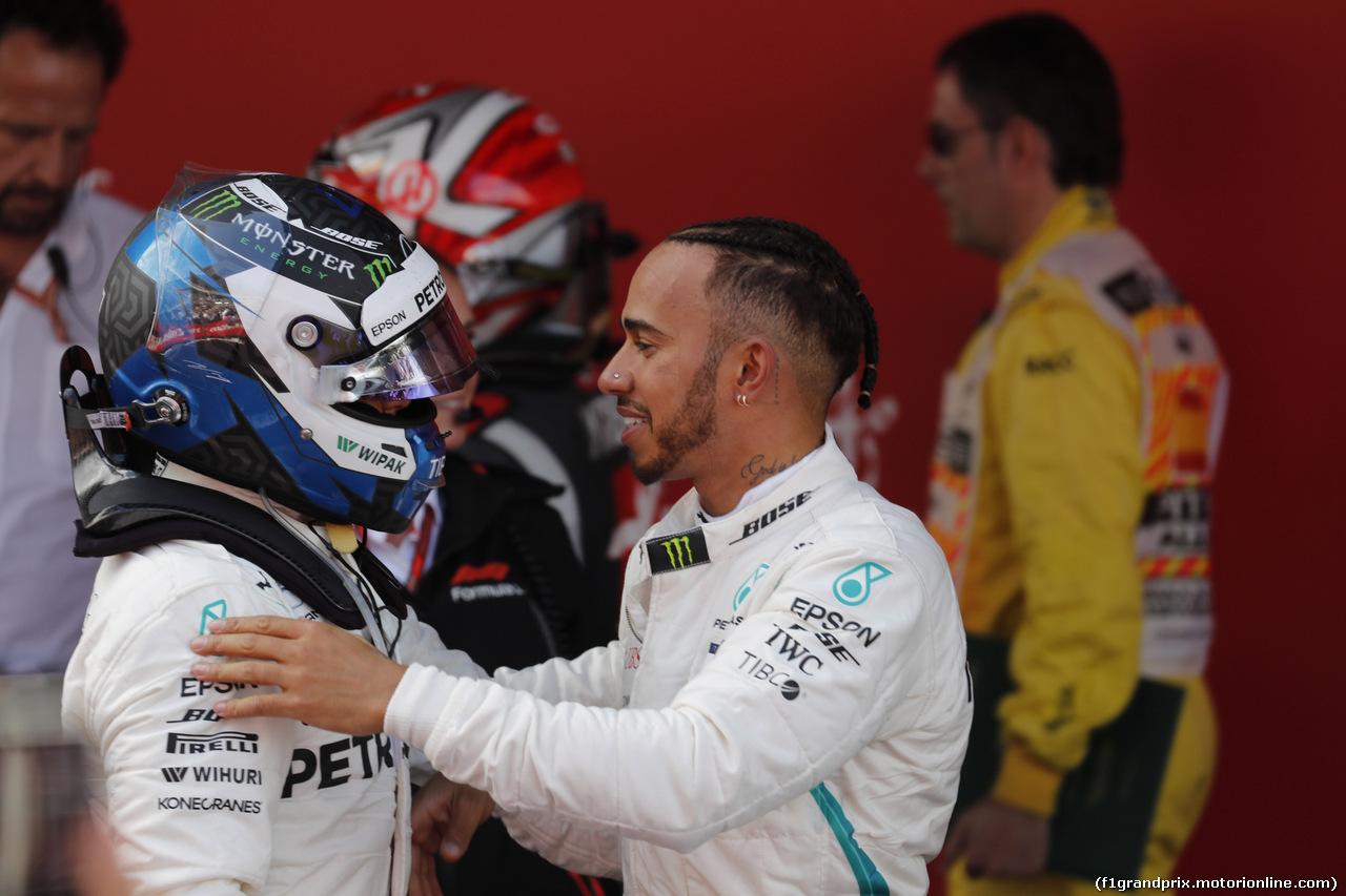 GP SPAGNA, 13.05.2018 - Gara, 2nd place Valtteri Bottas (FIN) Mercedes AMG F1 W09 e Lewis Hamilton (GBR) Mercedes AMG F1 W09 vincitore