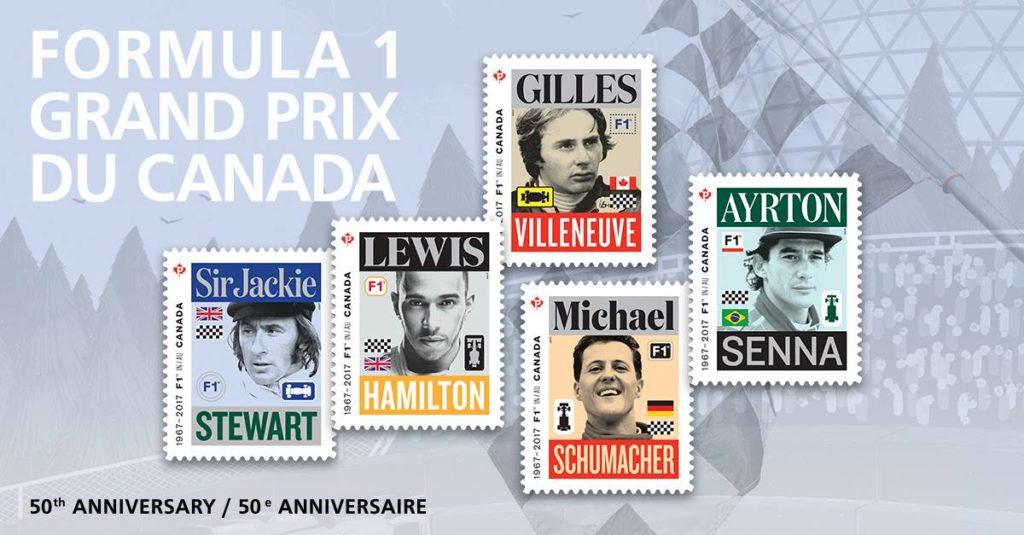 F1 | Per il 50° GP del Canada francobolli postali con le leggende della Formula 1