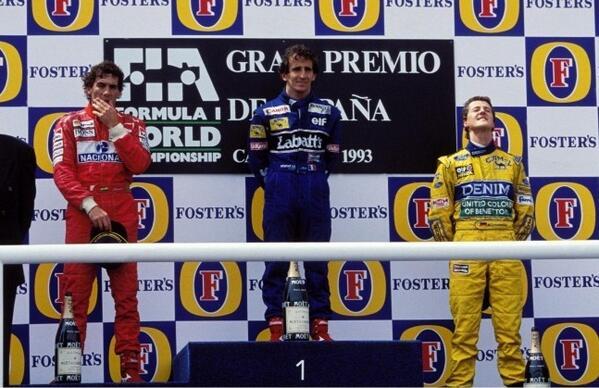F1 | GP Spagna 1993: il podio leggendario formato da Prost, Senna e Schumacher