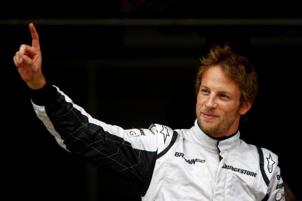 JENSON BUTTON 2009 WORLD CHAMPION, 2009 Spanish Grand Prix - Saturday Circuit de Catalunya, Barcelona, Spain 9th May 2009 Jenson Button, Brawn GP BGP001 Mercedes celebrates after taking Pole Position. Portrait. World Copyright: Charles Coates/LAT Photographic ref: Digital Image _26Y6155