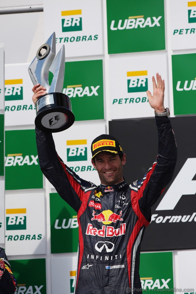 GP BRASILE, 27.11.2011- Gara, Mark Webber (AUS), Red Bull Racing, RB7 vincitore