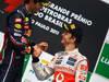 GP BRASILE, 27.11.2011- Gara, Mark Webber (AUS), Red Bull Racing, RB7 vincitore e Jenson Button (GBR), McLaren  Mercedes, MP4-26 terzo