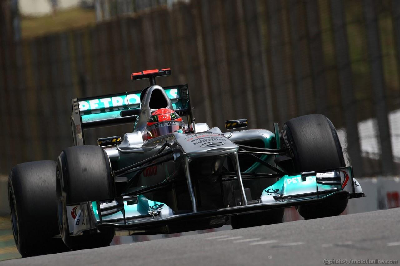 GP BRASILE, 26.11.2011- Prove Libere 3, Sabato, Michael Schumacher (GER), Mercedes GP Petronas F1 Team, MGP W02