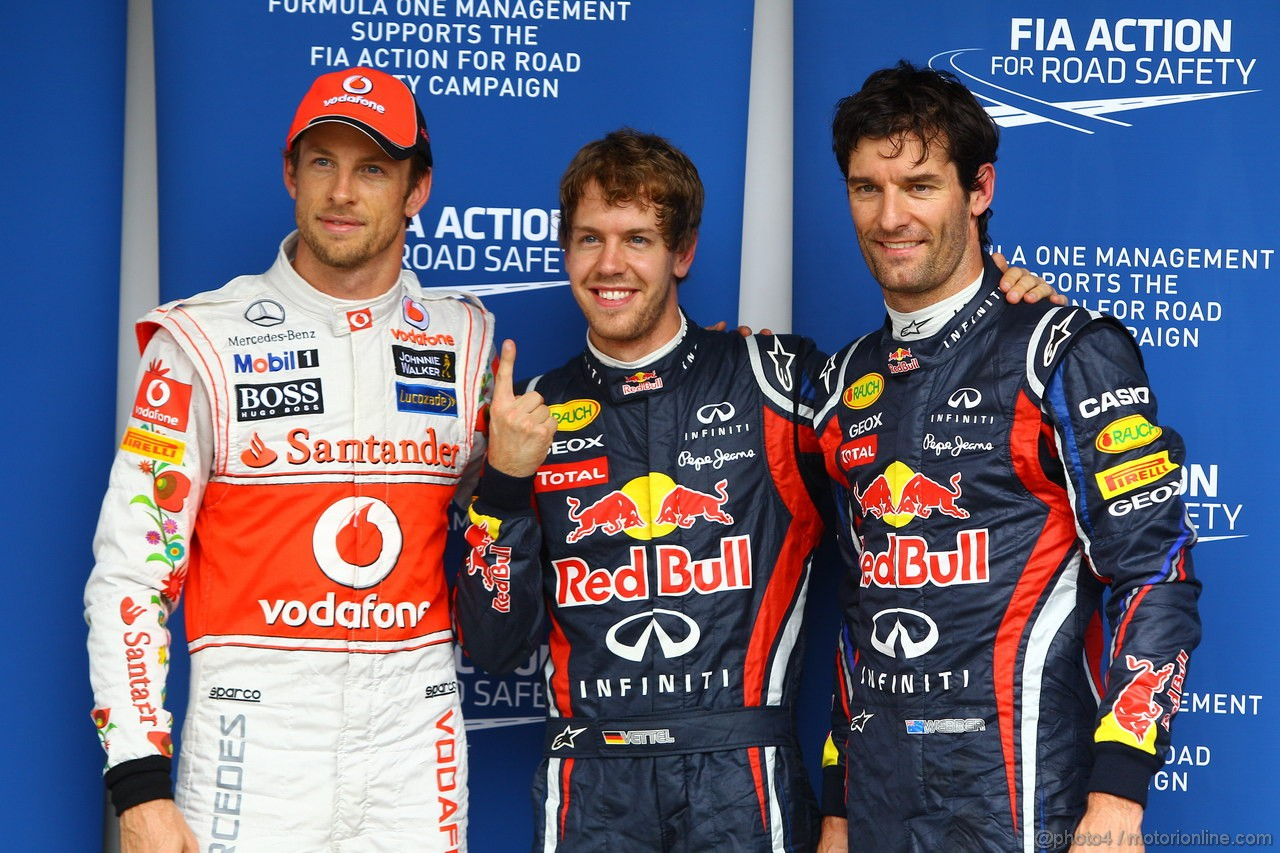 GP BRASILE, 26.11.2011- Qualifiche, Sebastian Vettel (GER), Red Bull Racing, RB7 pole position, Mark Webber (AUS), Red Bull Racing, RB7 secondo e Jenson Button (GBR), McLaren  Mercedes, MP4-26 terzo
