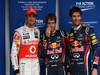 GP BRASILE, 26.11.2011- Qualifiche, Sebastian Vettel (GER), Red Bull Racing, RB7 pole position, Mark Webber (AUS), Red Bull Racing, RB7 secondo e Jenson Button (GBR), McLaren  Mercedes, MP4-26 terzo