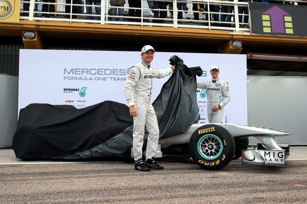 Mercedes MGP W02,  Nico Rosberg (GER), Mercedes GP Petronas F1 Team e Michael Schumacher (GER), Mercedes GP Petronas F1 Team unveil the new MGP W02 - Mercedes GP Petronas F1 Team MGP W02 Launch - Formula 1 World Championship