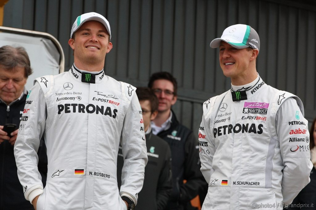 Mercedes MGP W02,  Nico Rosberg (GER), Mercedes GP Petronas F1 Team e Michael Schumacher (GER), Mercedes GP Petronas F1 Team - Mercedes GP Petronas F1 Team MGP W02 Launch - Formula 1 World Championship