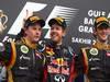 GP BAHRAIN, 22.04.2012- Gara, Sebastian Vettel (GER) Red Bull Racing RB8 vincitore, Kimi Raikkonen (FIN) Lotus F1 Team E20 secondo e Romain Grosjean (FRA) Lotus F1 Team E20 terzo