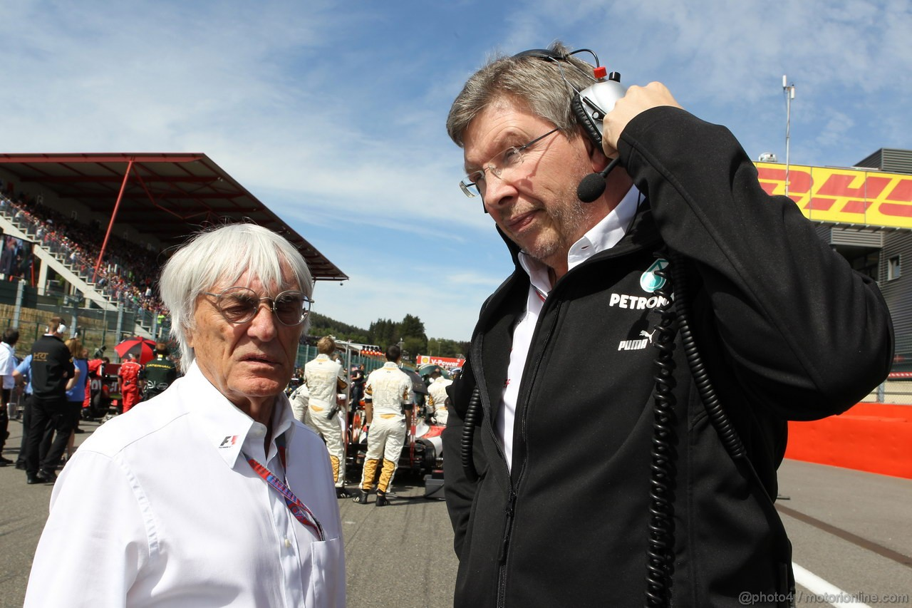GP BELGIO, 02.09.2012- Gara, Bernie Ecclestone (GBR), President e CEO of Formula One Management  e Ross Brawn (GBR), Team Principal, Mercedes GP