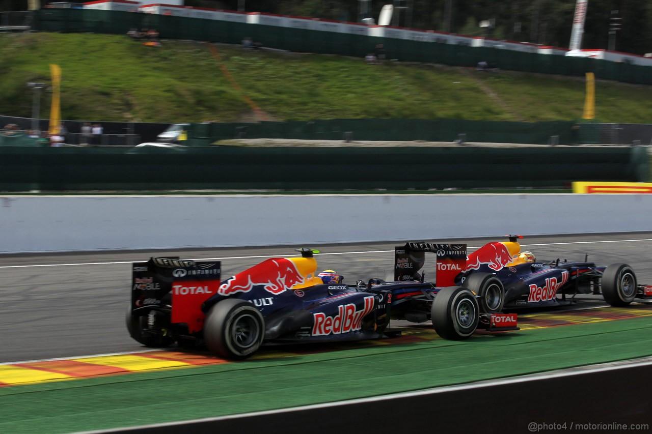 GP BELGIO, 02.09.2012- Gara, Mark Webber (AUS) Red Bull Racing RB8 e Sebastian Vettel (GER) Red Bull Racing RB8